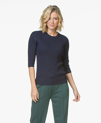 Repeat Merino Half Sleeve Rib Pullover - Ink