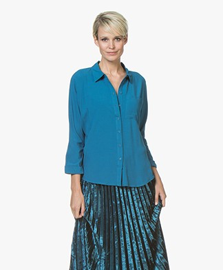 Marie Sixtine Florie Viscose Cropped Sleeve Blouse - Ocean
