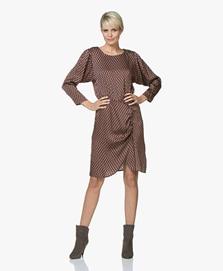 MKT Studio Rakiala Satin Print Dress - Caramel