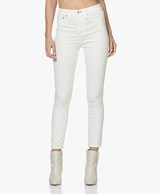 Rag & Bone High Rise Velvet Skinny Jeans - Antique White