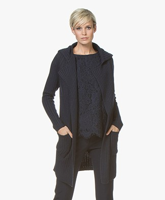 Belluna Jimmy Open Rib Cardigan - Navy