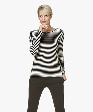 BY-BAR Basic Striped Viscose-wool Mix Long Sleeve - Off-white/Black