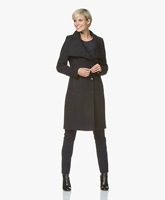 Drykorn Redditch Long Wool Coat - Dark Blue