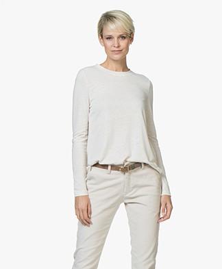 indi & cold Linen Long Sleeve T-shirt - Piedra