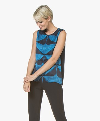 Majestic Silk Printed Top with Jersey Back Panel - Marine/Fidji Blue