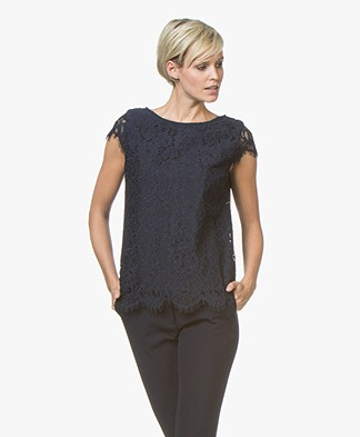 no man's land Lace Cap Sleeve Blouse Top - Dark Sapphire