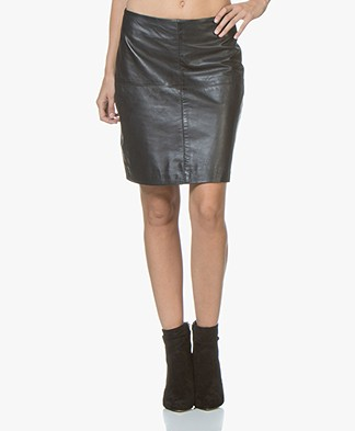 no man's land Leather Skirt - Dark Sapphire
