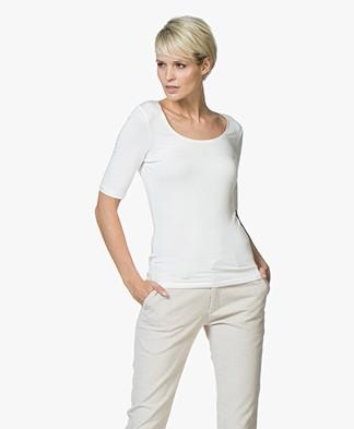 No Man's Land Viscose T-Shirt met Halflange Mouwen - Ivory