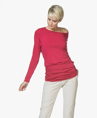 no man's land Viscose Jersey Long Sleeve - Ruby