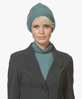 Repeat Cashmere Rib Knitted Beanie - Lake