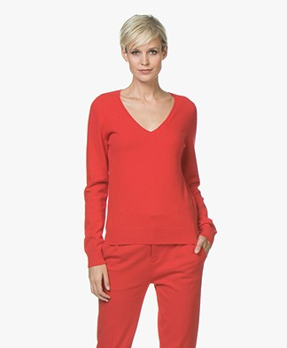 Repeat Cashmere V-Neck Pullover - Red