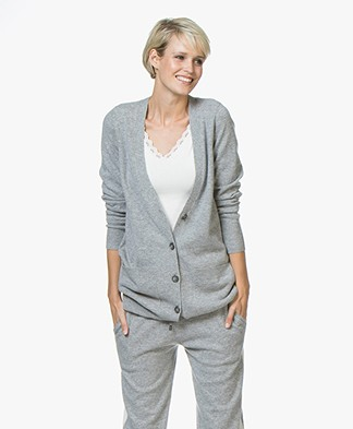 Repeat Fine Knitted Cashmere Cardigan - Light Grey