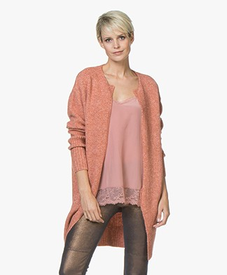 Sibin/Linnebjerg Olivia Cardigan with Lurex Details - Teracotta