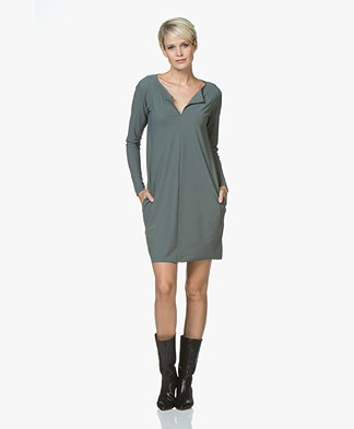 Woman By Earn Rose Tech Jersey Dress - Grey Green