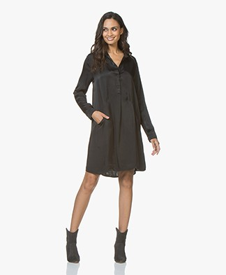 BRAEZ Dorei Viscose Satin Tunic Dress - Black