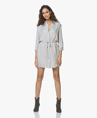 BRAEZ Dreas Drawstring Dress in Viscose - Silver Grey