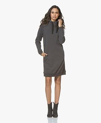 BY-BAR Collar French Terry Sweater Dress - Phantom Black