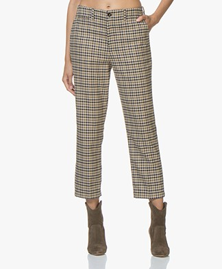 Closed Bertha Cropped Checkered Pants - Khaki