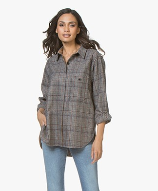 Closed Aeron Oversized Over Shirt in Wool Blend - Check Grey/Brown