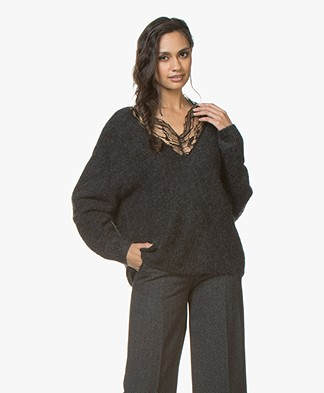 IRO Diamon Mohair V-neck Sweatere with Lace - Dark Grey/Black
