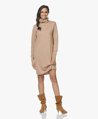 Josephine & Co Jara Fine Knitted Turtleneck Dress in Merino Wool - Camel