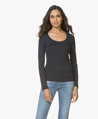 no man's land Basic Viscose Long Sleeve - Dark Sapphire