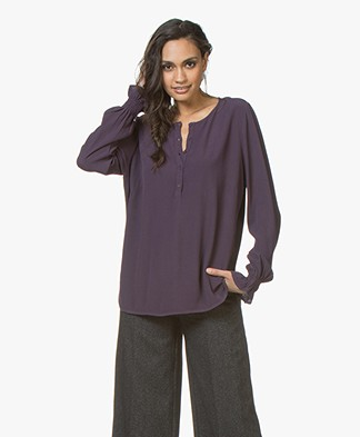 no man's land Crepe Blouse - Dark Mulberry