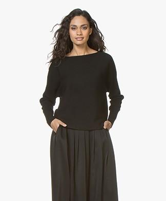 no man's land Rib Knit Wool Sweater - Core Black