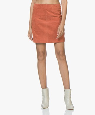 no man's land Suede Skirt - Bright Brick