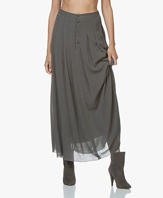 Pomandère Pleated Maxi-skirt - Dark Grey