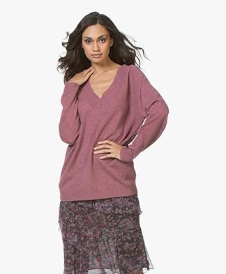Repeat Cashmere V-neck Sweater - Plum