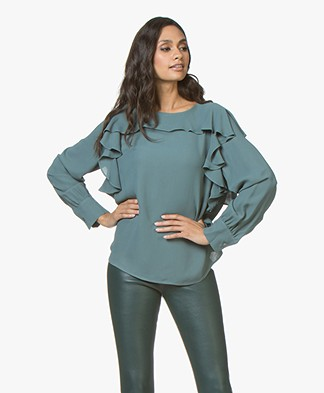 Repeat Viscose Crêpe Blouse met Volants - Lake