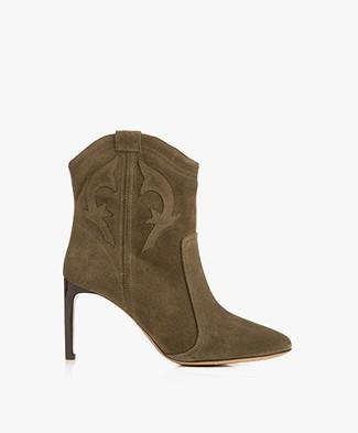 ba&sh Caitlin Suede Ankle Boots - Khaki