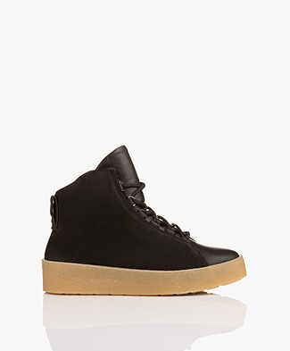 Filippa K Anna Winter Laced Booties - Zwart Nubuck