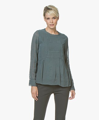 indi & cold Blouse with Embroidery - Plomo