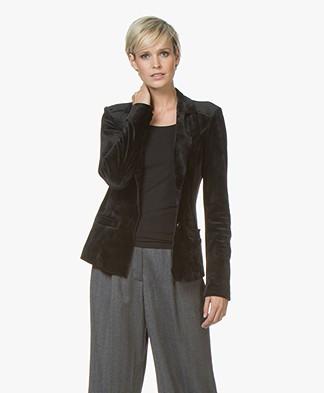 Woman By Earn Juul Velvet Jersey Blazer - Black
