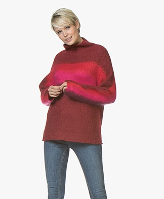Rag & Bone Holland Funnel Neck Sweater with Silk - Burgundy