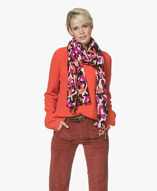 By Malene Birger Heyes Wollen Printsjaal - Spicy Orange