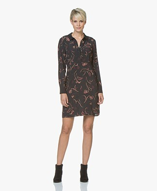 ba&sh Castel Printed Viscose Tunic Dress - Black/Burgundy
