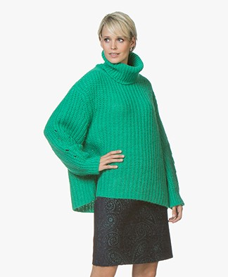 ba&sh Emera Oversized Turtleneck Sweater - Green Vert