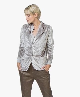 BRAEZ Cynthia Velvet Jersey Blazer - Silver Grey
