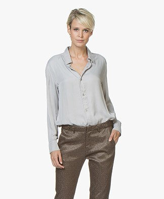 BRAEZ Shaq Viscose Satin Blouse - Silver Grey