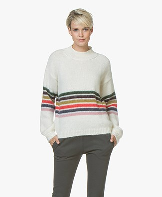 BY-BAR Jil Mohair Blend Sweater with Stripes - Off-white