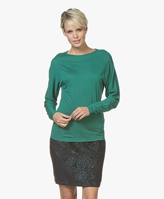 BY-BAR Katy Viscose Blend Long Sleeve with Lurex - Peacock Green