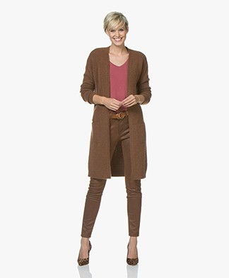 BY-BAR Nisa Long Open Cardigan - Cognac