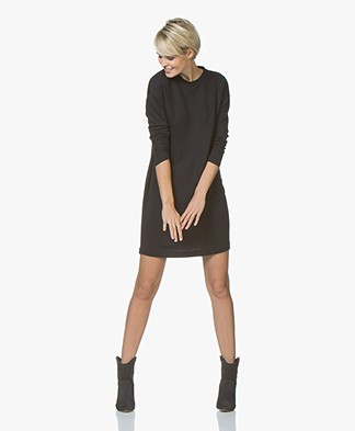 Denham Quest Sweater Dress with Pleated Detail - Black Shadow