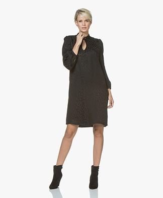 Drykorn Juliette Satin Jacquard Leopard Dress - Black