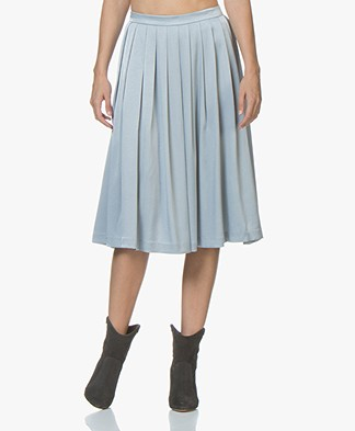 Filippa K Pleated Midi Rok - Dove Blue