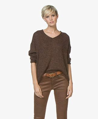 indi & cold Mohair Blend V-neck Sweater - Chocolate