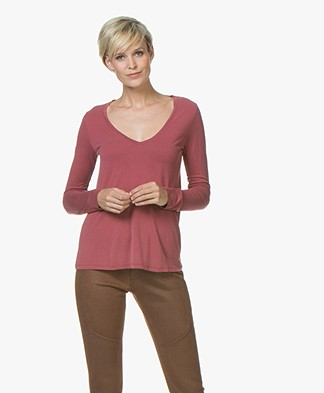 Majestic Filatures Garment Dyed Long Sleeve in Pure Silk - Grenat